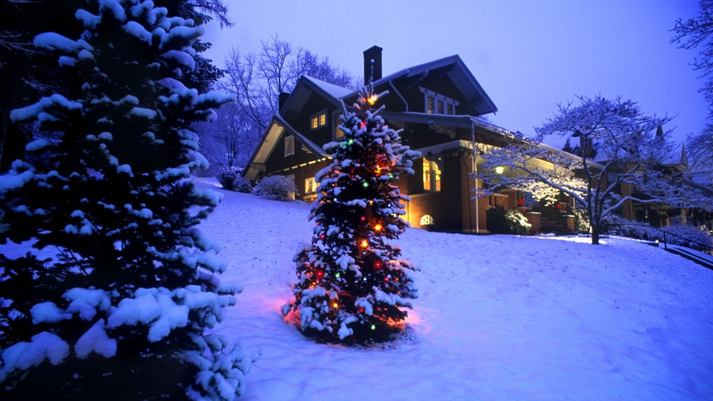 Christmas scene at a cabin in the mountains