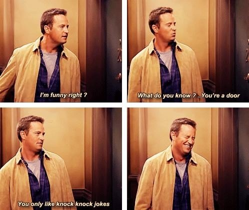 Chandler telling a knock knock joke to a door