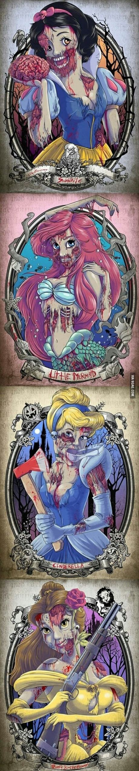 Disney Princesses if they were drawn as zombies, may make some movies more interesting
