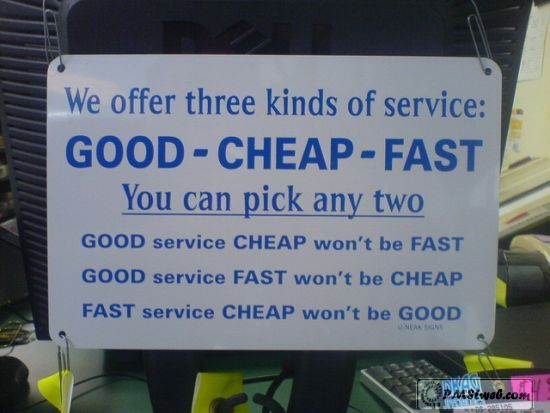 """Funny I use the same philosophy but only offer """"ok"""""""