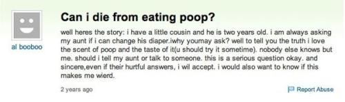 Can you die eating poop?  Hm.