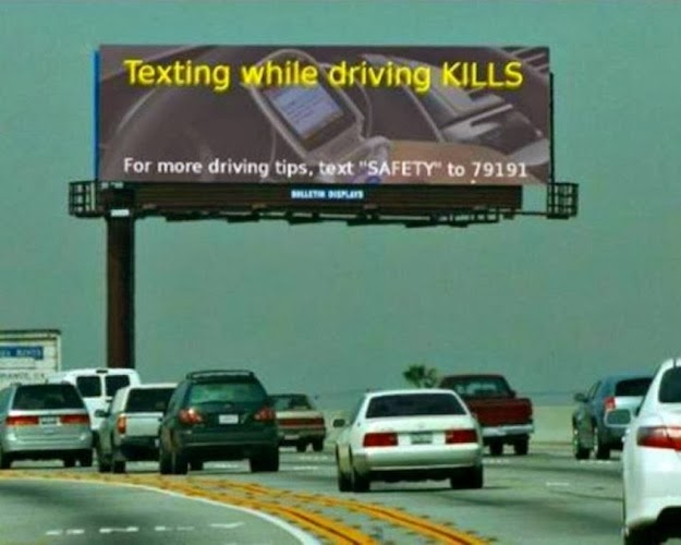 Don't text while driving, other than to text this number about texting while driving