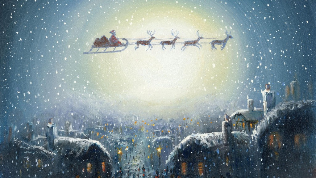 Santa in his sleigh above a down by the moonlight