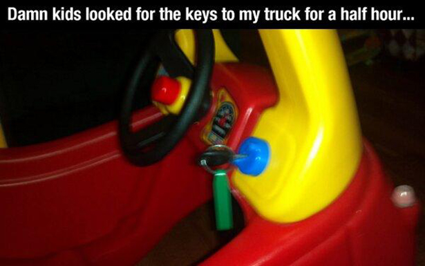 At least the keys were somewhere sensible