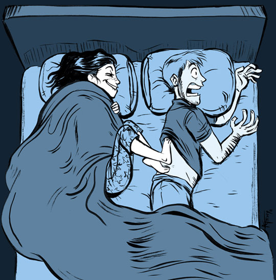 Cold feet on warm back, why sharing a bed is difficult during the winter