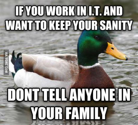 Sage advice from advice duck about working in IT