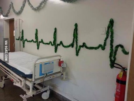 Christmas decorations with a decidedly hospital feel